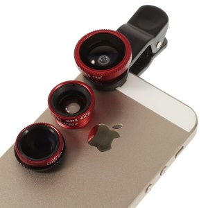 4 in 1 LieQi LQ-008 Universal Clip + Circular Filter Lens + Fish Eye Lens + Wide-angle & Macro Lens Kit for iPhone iPad Samsung LG - Red