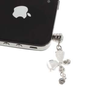 White Crystal & Diamond Petal 3.5mm Earphone Jack Dustproof Plug Stopper for iPhone Samsung Sony HTC Etc