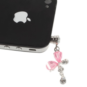 Pink Crystal & Diamond Petal Dustproof 3.5mm Earphone Jack Plug Stopper for iPhone Samsung Sony HTC Etc