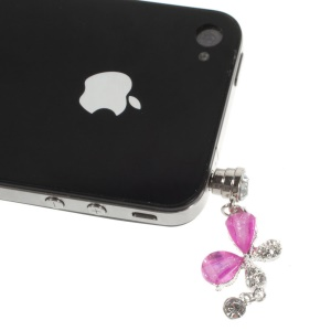 Purple Crystal & Diamond Petal Dustproof 3.5mm Earphone Jack Plug Stopper for iPhone Samsung Sony HTC Etc
