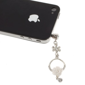 Diamante Charming Rose Anti Dust 3.5mm Earphone Jack Plug Cap for iPhone Samsung Sony LG Etc - White