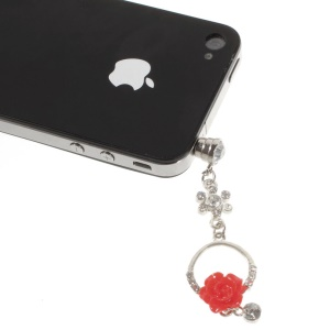 Diamante Charming Rose Anti Dust 3.5mm Earphone Jack Plug Cap for iPhone Samsung Sony LG Etc - Red