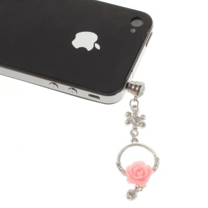Diamante Charming Rose Anti Dust 3.5mm Earphone Jack Plug Stopper for iPhone Samsung Sony LG Etc - Pink