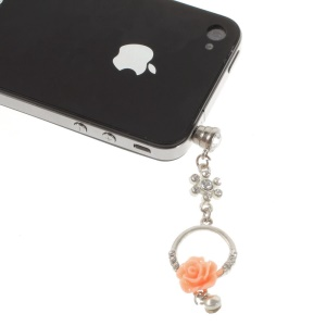 Diamante Charming Rose Anti Dust 3.5mm Earphone Jack Plug Cap for iPhone Samsung Sony LG Etc - Orange