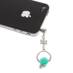 Diamond Charming Rose Anti Dust 3.5mm Earphone Jack Plug Cap for iPhone Samsung Sony LG Etc - Green