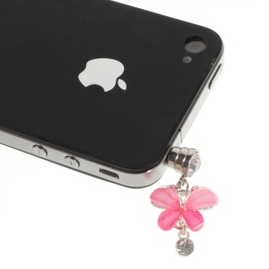 Pink Crystal Butterfly Anti Dust 3.5mm Earphone Jack Plug Stopper for iPhone Samsung Sony Huawei Etc