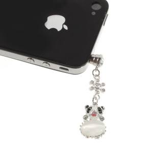White Crystal Diamante Cute Panda Dustproof 3.5mm Earphone Jack Plug Cap for iPhone Samsung Sony LG HTC Etc