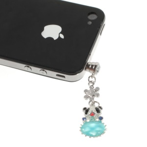 Blue Crystal Diamante Cute Panda Dustproof 3.5mm Earphone Jack Plug Cap for iPhone Samsung Sony LG HTC Etc