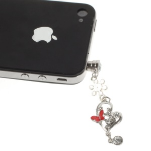 Diamante Heart & Butterfly Dustproof 3.5mm Earphone Jack Plug Stopper for iPhone Samsung Sony Huawei Etc