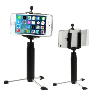 Black Portable Key Ring design Tripod Stand Camera Holder for iPhone Samsung HTC Sony etc., Range: 5-8cm