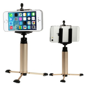 Gold Portable Key Ring design Tripod Stand Camera Holder for iPhone Samsung HTC Sony etc., Range: 5-8cm