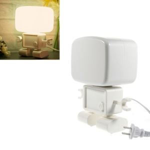 Cute Robot Design Sound Control Light-operated Home Bedroom Table Lamp LED Light - White Light