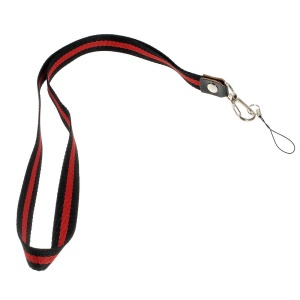 Two-tone Lanyard Strap String for Cell Phone Keychains MP3 Etc, Length: 50cm - Black / Red