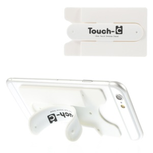Adhesive Touch-C One Touch Silicone Mount & Card Holder for Cellphones GPS Tablets - White