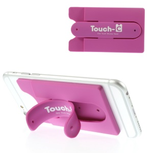 Adhesive Touch-C One Touch Silicone Stand & Card Holder for Cellphones GPS Tablets - Rose