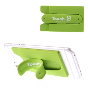 Adhesive Touch-C One Touch Silicone Stand & Card Holder for Cellphones GPS Tablets - Green