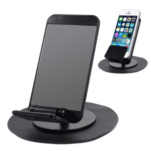 Universal Rotary Car Mount Holder with Adhesive Rubber Pad - Silver