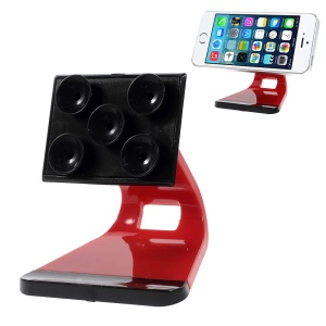 Suction Cups Adsorption Desk Display Stand for iPhone Samsung HTC Mobile Phones - Red