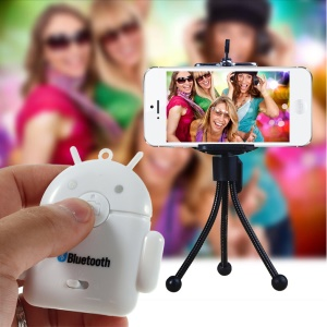 White Cute Android Robot Bluetooth Remote Shutter for iPhone iPad Samsung S5 S4 Note 3 etc