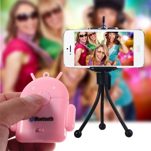 Pink Cute Android Robot Bluetooth Remote Shutter for iPhone iPad Samsung S5 S4 Note 3 etc