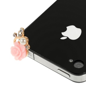 Rose Flower Shaped 3.5mm Pearl Earphone Jack Anti-dust Stopper for iPhone Samsung HTC etc - Pink