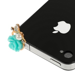 Rose Flower Shaped 3.5mm Pearl Earphone Jack Dust-proof Stopper for iPhone Samsung HTC etc - Blue