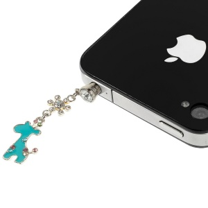 Cyan Giraffe Rhinestone 3.5mm Earphone Jack Dust-proof Stopper for iPhone Samsung HTC etc