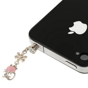Pink Cat Rhinestone 3.5mm Earphone Dust-proof Plug Cap for iPhone Samsung HTC etc