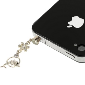 White Dolphin Rhinestone 3.5mm Earphone Dust-proof Plug Stopper for iPhone Samsung HTC etc