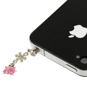 Rose Ladybug Rhinestone 3.5mm Earphone Dust-proof Stopper for iPhone Samsung HTC etc