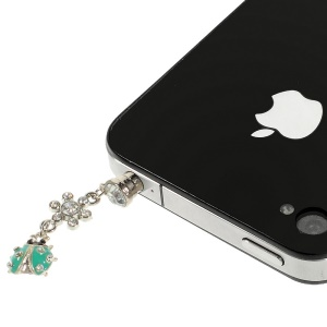 Green Ladybug Rhinestone 3.5mm Earphone Dust-proof Stopper for iPhone Samsung HTC etc