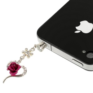 Rose Flower & Heart Rhinestone 3.5mm Earphone Dust-proof Stopper Cap for iPhone Samsung HTC etc