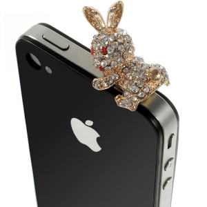White Rabbit Rhinestone 3.5mm Earphone Anti-dust Plug Stopper for iPhone Samsung HTC etc