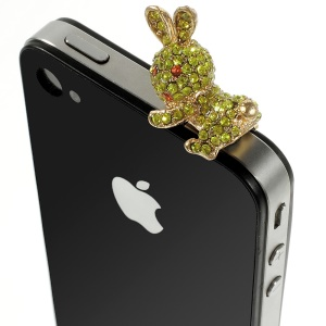 Green Rabbit Rhinestone 3.5mm Earphone Anti-dust Plug Stopper for iPhone Samsung HTC etc