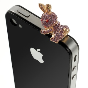 Purple Rabbit Rhinestone 3.5mm Earphone Anti-dust Plug Stopper for iPhone Samsung HTC etc
