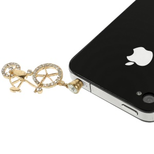 Bicycle Design 3.5mm Rhinestone Earphone Jack Dust-proof Stopper Cap for iPhone Samsung HTC etc