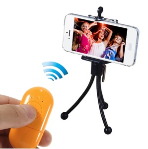 Mr.D D365 Mini Bluetooth Remote Shutter Self-Timer Support NFC for iPhone Samsung HTC Etc - Orange