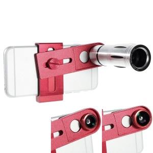 3-in-1 12X Telephone Telescope + Fisheye Lens + Wide Angle Lens w/ Clip - Red