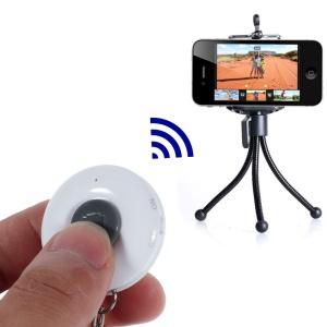 White iPega Round Shape Mini Bluetooth Remote Control Self-Timer for iOS iPhone iPad Android Smartphone Samsung
