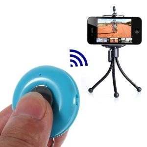 Blue iPega Round Shape Mini Bluetooth Remote Control Self-Timer for iOS iPhone iPad Android Smartphone Samsung