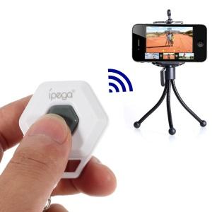 White iPega Hexagon Shape Mini Bluetooth Remote Control Self-Timer for iOS iPhone iPad Android Smartphone Samsung