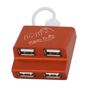 Ladder Style 4-Port USB2.0 USB Hub for PC Laptop - Red Orange