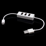 Micro USB Sync Data Charge Cable with 3-Port USB Hub - White (SIYOTEAM SY-C10)