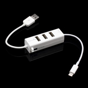 3 Ports High-speed USB 2.0 HUB & Charger with Lightning Connector for iPhone 5 iPad Mini