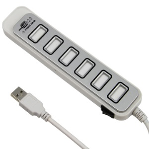 USB 2.0 High Speed 7 Ports Hub Adapter for PC Laptop AC Adapter