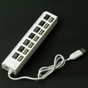 High Speed 7 Ports USB 2.0 Hub with Switch for PC/Laptop (White)