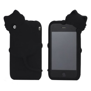 Deere Stogdill 3D Diffie Cat Silicone Soft Case Cover with Earphone Jack Plug for iPhone 3G 3GS  - Black