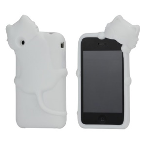 Deere Stogdill 3D Diffie Cat Silicone Soft Case Cover with Earphone Jack Plug for iPhone 3G 3GS - White