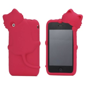 Deere Stogdill 3D Diffie Cat Silicone Soft Case Cover with Earphone Jack Plug for iPhone 3G 3GS - Red