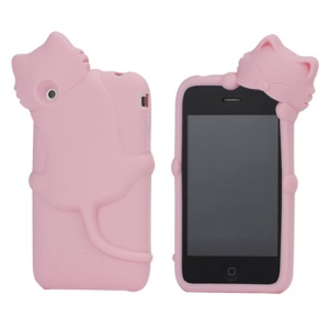 Deere Stogdill 3D Diffie Cat Silicone Soft Case Cover with Earphone Jack Plug for iPhone 3G 3GS - Pink